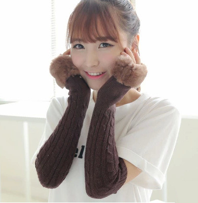 Solid Color Fluffy Wool End Knitted Women's Gloves Wrist Arm Warmer Winter Fingerless Mitten Dropship