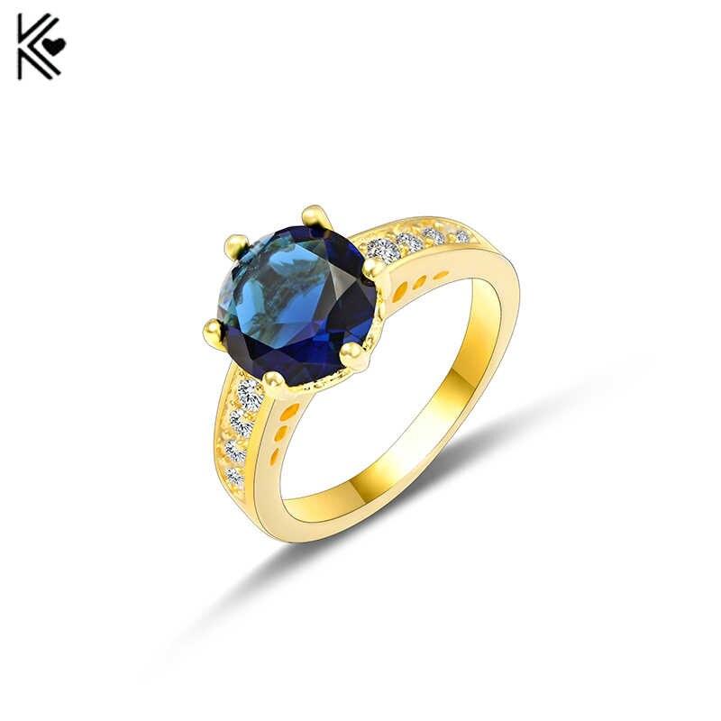Anillos de circonita azul redondos grandes para mujer hombre oro lleno de moda boda fiesta anillo de compromiso joyería Simple día de San Valentín