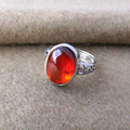 GZ Open Size 100% Pure 925 Sterling Silver Rings for Women Jewelry Garnet Red Stone S925 Thai Silver Ring LR77
