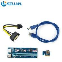 PCI-E 1X до 16X Riser card преобразования расширение 6pin порт ноутбука сетевой адаптер с 60 см кабель для БТД Шахтер Машина взлет