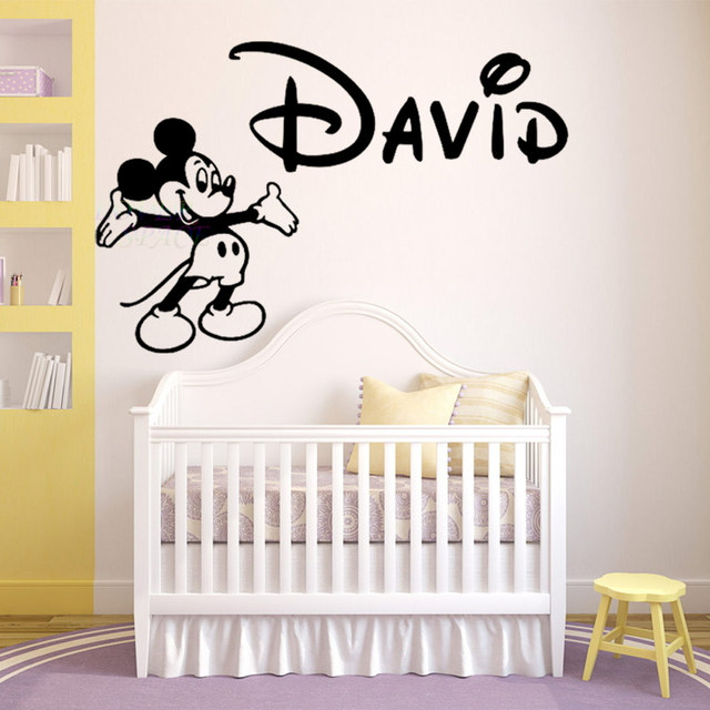 Personalized name walt mickey mouse custom wall decal vinyl sticker decor children baby nursery kids room