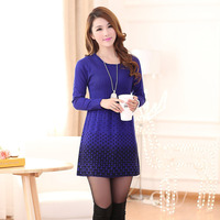 2016 Autumn And Winter New Middle Aged Mother Dress Plus Size Long Thicker Long Sleeved Cashmere