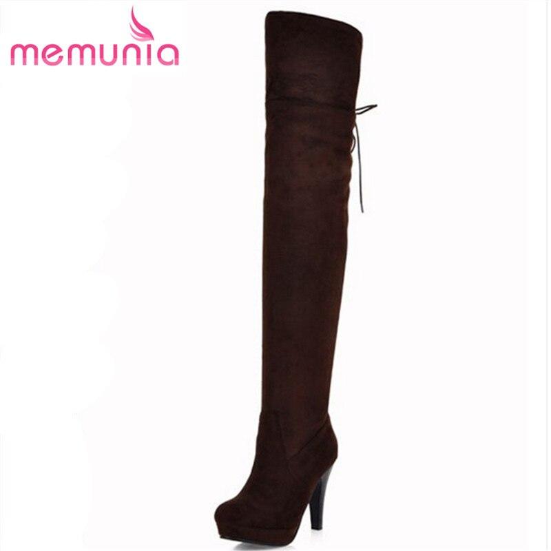 e8cafe5b Memunia moda 2017 nuevos cargadores de las mujeres sobre la rodilla redonda  dedo del pie stiletto tacones altos botas marrón negro plataforma otoño  botas