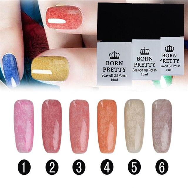 BORN PRETTY 6pcs Nail Art UV Gel Manicure 10ml Fur Effect Soak Off UV Gel Polish Manicure DIY Decoration