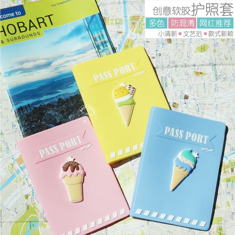 Ice Cream Passport Cover Silica Gel Passport Holder Travel Covers for Passports Girls Case for Passport Wholesale