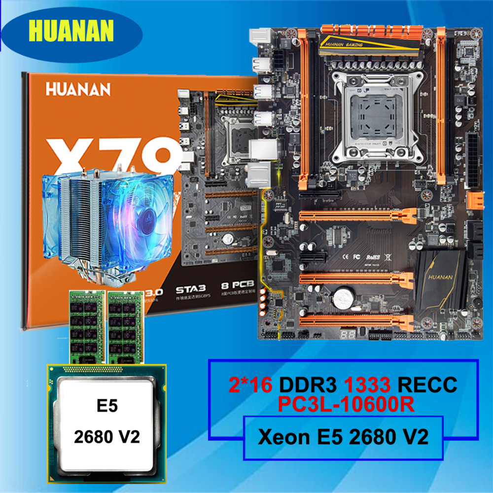 Hot selling HUANAN deluxe X79 LGA2011 gaming motherboard Xeon E5 2680 V2 with cooler RAM 32G(2*16G) 1333MHz DDR3 RECC all tested huanan x79 motherboard cpu ram combos with cooler v2 49 x79 lga2011 processor xeon e5 2680 v2 ram 16g 4 4g ddr3 recc all tested