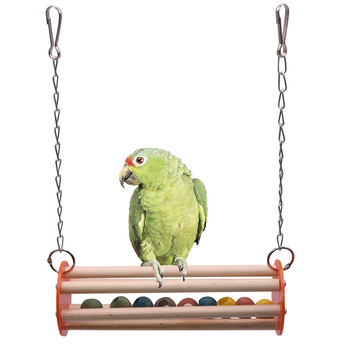 1 pcs Bird Cage Bird Toys Accessories Colorful Solid Wood Bird Chew Toy Parrots Toys Accessory Standing Chews Birds Nest 4