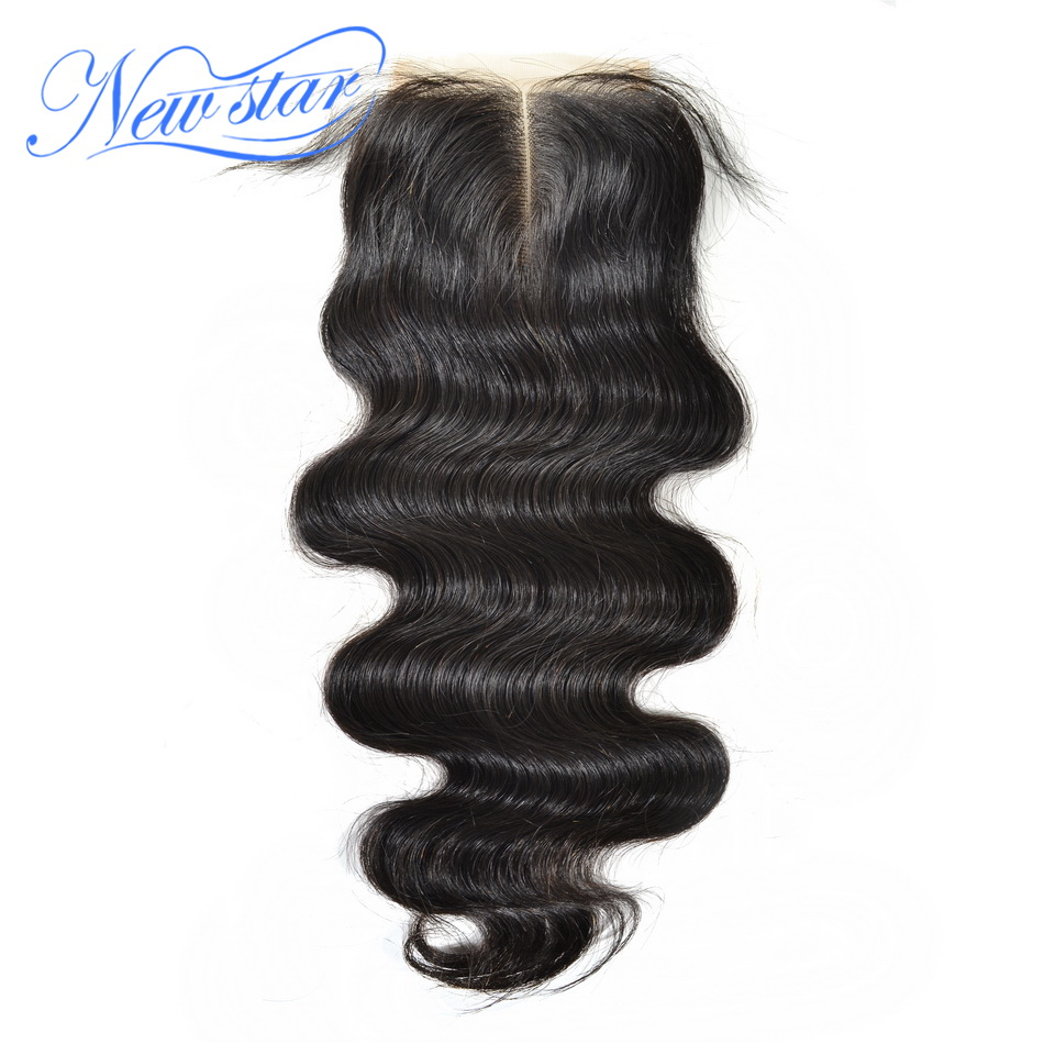 Closure Middle-Part Human-Hair Body-Wave Virgin Bleached Lace 4x4 Brazilian New Star