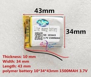 Image 2 - Liter energie batterie 3,7 V lithium polymer batterie 103443 1500 MAH 103545 spiel maschine MP3 MP4 MP5 lithium batterie GPS navigator