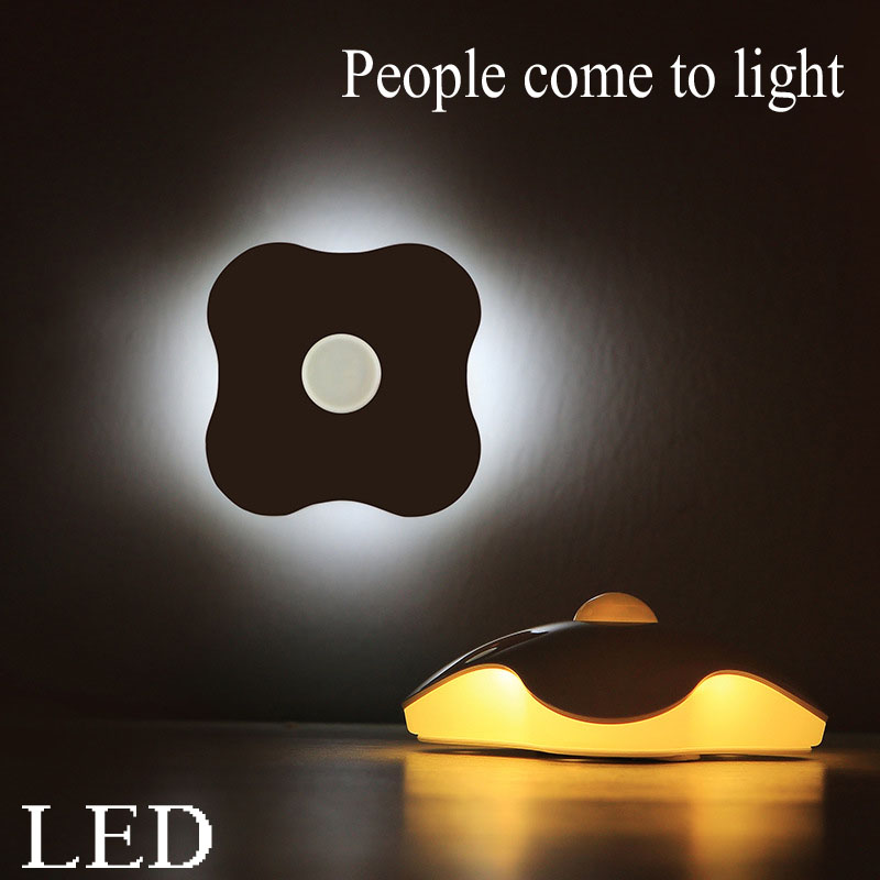 Four leaf clover body sensor night light led lights Creative wall lamp vinyl four leaf clover decorative wall art sticker
