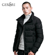 Gersri New Autumn Winter Men Jacket Casual Stand Collar Cotton-padded Warm Parka Outwear Mens Coat Clothes