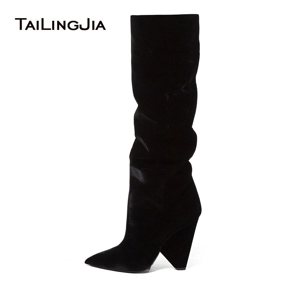 Rodilla Moda Terciopelo Cuña La Punta Black Cono Negro De Slouch Señoras Zapatos Invierno Mujer Por Encima Botas Tacón Alta 2018 q6nA5Yz
