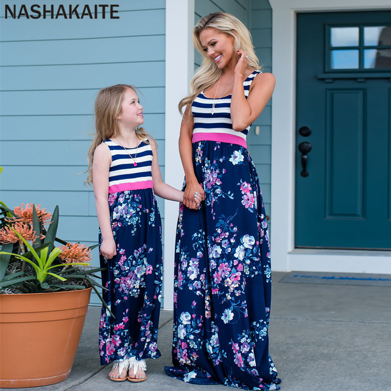 HTB1Kz8QacvrK1Rjy0Feq6ATmVXaI - NASHAKAITE Mother daughter dresses Floral Printed Long Dress Mommy and me clothes Family matching clothes Mom and daughter dress