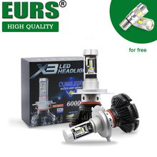EURS Fábrica X3 faróis Do Carro H4 H1 lâmpadas LED H11 farol Auto LEVOU lâmpadas H7 50 W 3000 K 6500 K 8000 K Tudo em um super brilhante 9005
