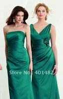 2 Styles Wedding Party Sexy V Neck Satin Floor Length Long Emerald Bridesmaid Dresses Wholesale Free Shipping