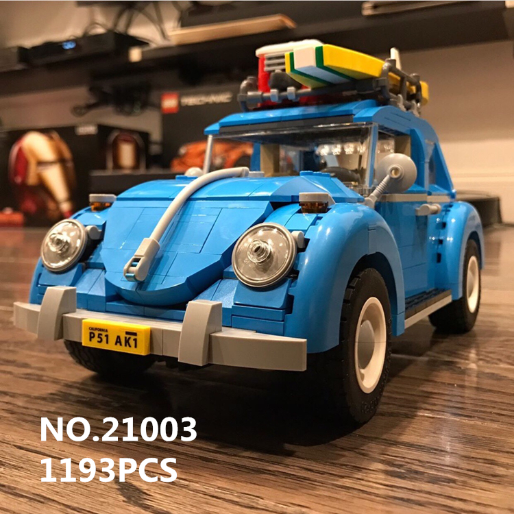 Lepin Techinc Series 21003 Car  Beetle model Assembling blue Building Blocks Toy Compatible with 10252 boy gift Classic models new lepin 21003 series city car beetle model building blocks compatible 10252 blue technic car children diy boy gift