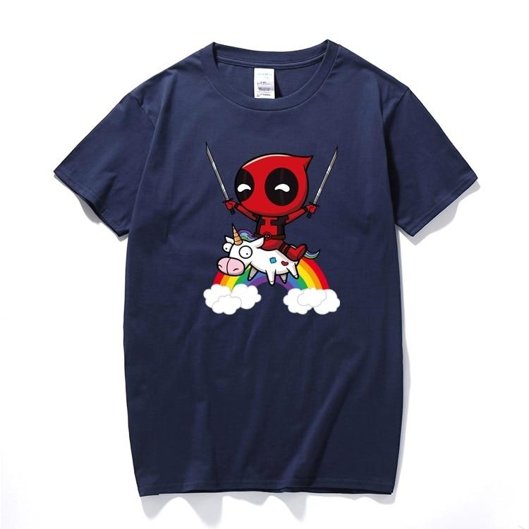 2018 Men Women Boy T-Shirt Funny Cute Deadpool 2 Minion Riding A Unicorn Rainbow Cosplay Costume Cartoon Cotton T Shirt For Kids
