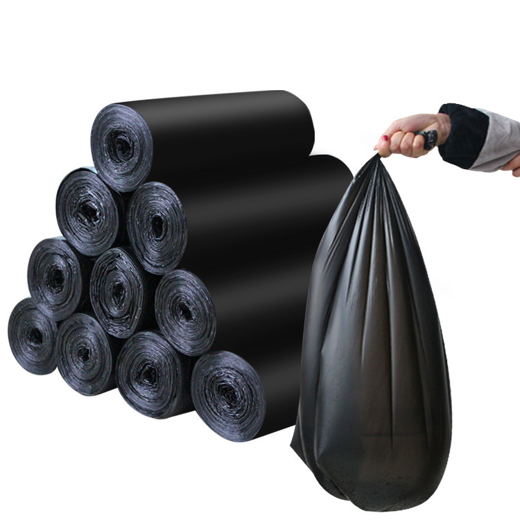 15pcs/Roll Flat Top Type 60x80cm Disposable Trash Bags Big Size Kitchen Hotel Garbage Bags Black Plastic Bags