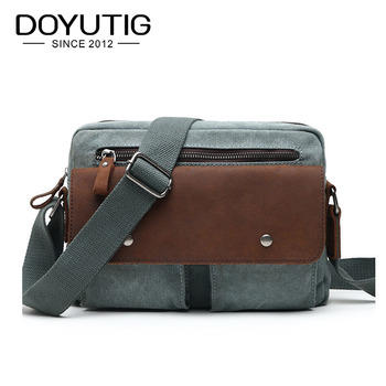 Classical Men's Casual Canvas Shoulder Bag With Crazy Horse Leather High Quality Canvas Crossbody Bags For School & Travel G071