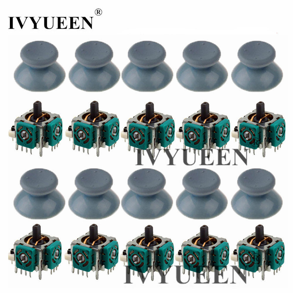 IVYUEEN 10 Sets 3d Analog Stick Joystick Sensor Potentiometer And ThumbSticks Cap For Xbox 360 Controller Repair Parts Kit