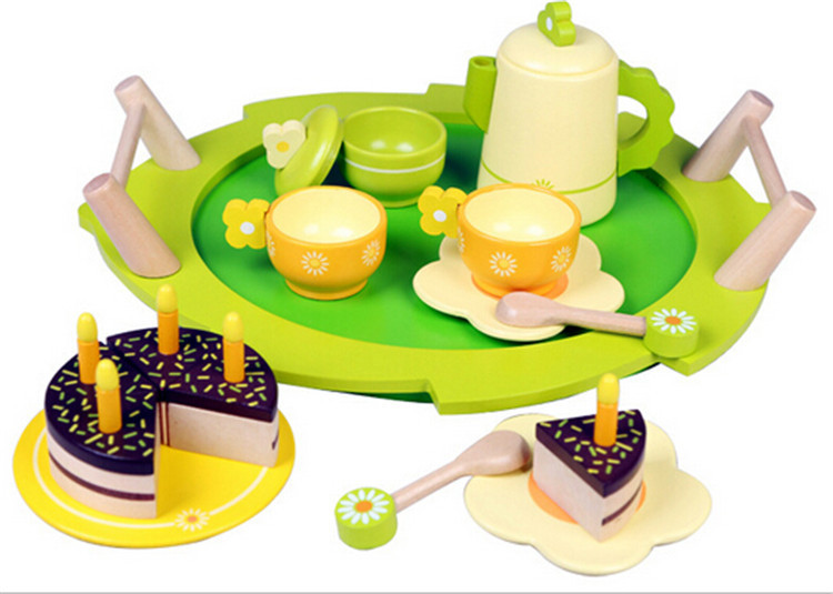 New baby wooden kitchen toys birthday cake toy set for Kitchen set cake
