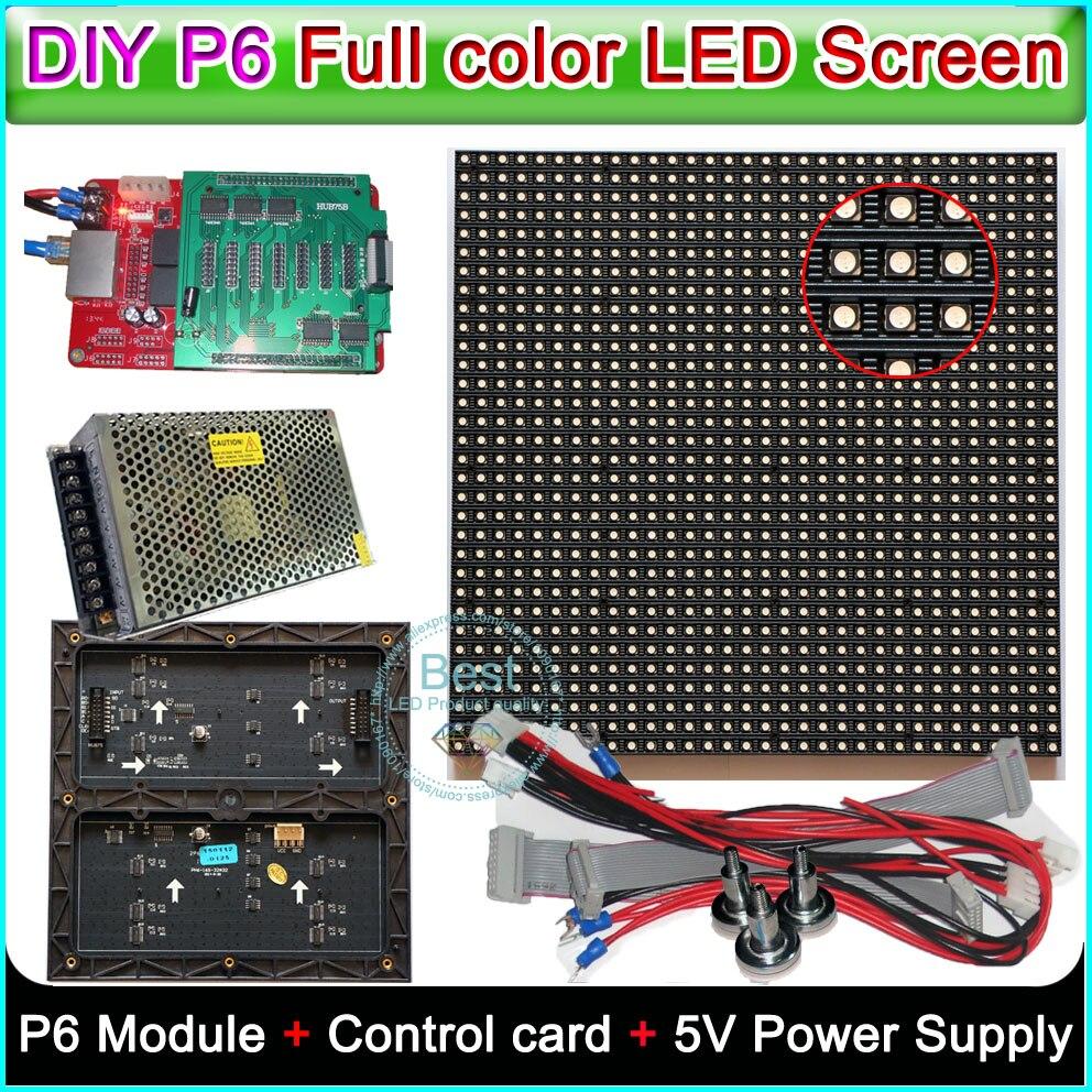 DIY P6 светодиодный дисплей видео стены Крытый полный цвет, SMD 3 в 1 RGB P6 СВЕТОДИОДНЫЙ модуль (192*192 мм) + Управление карты + 5 В Мощность питания