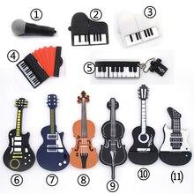 Музыкальные инструменты Модель ручка привода USB флэш-накопитель микрофон/пианино/Флешка в виде гитары 4 г 8 г 16 г 32 г 64 г флэш-карта памяти u диск