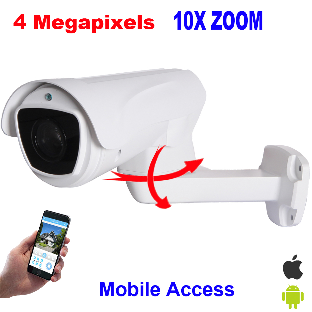 Security CCTV HD 4MP IP Camera 4 Megapixels Pan Tilt Bullet PTZ Camera 10X Optical zoom IR 100M IP66 Waterproof P2P Mobile View 8x zoom optical mobile phone telescope camera white
