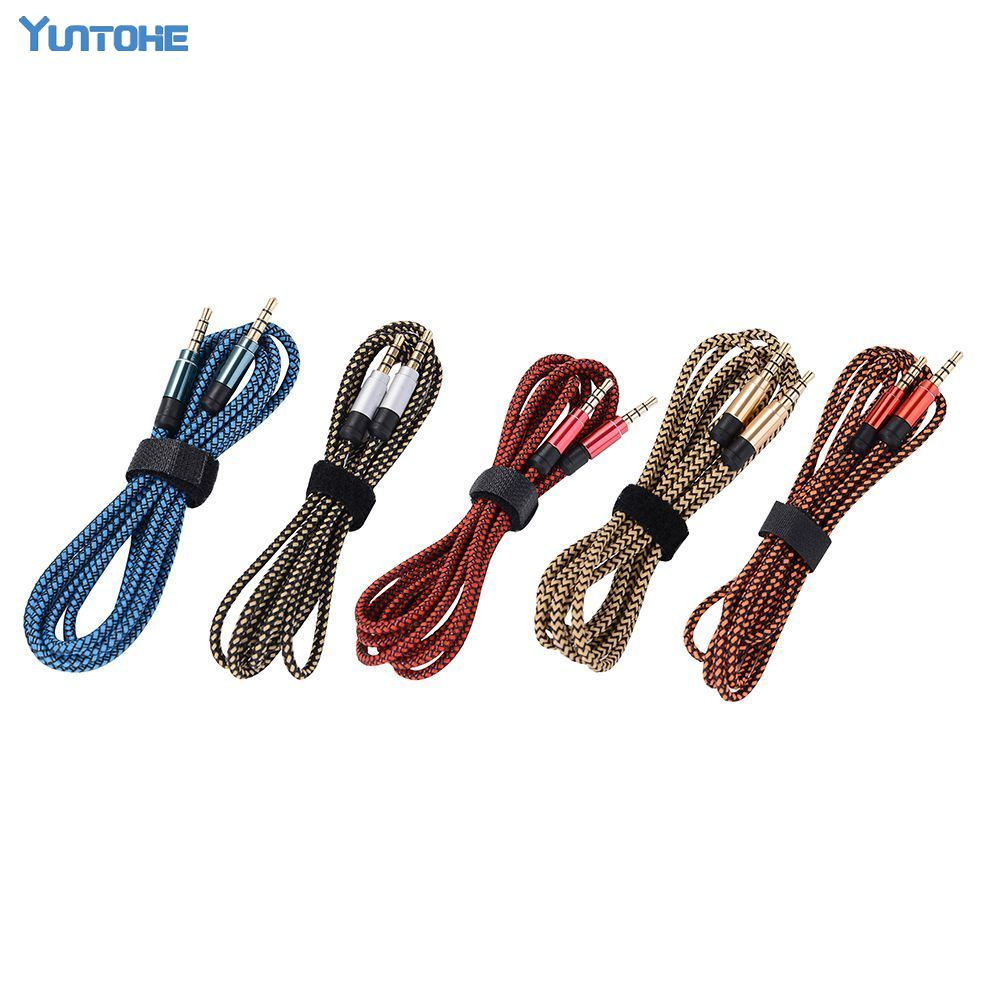 1 5m 3m Braided Fabric 3 5mm Male To Male M M Stereo Audio AUX Auxiliary
