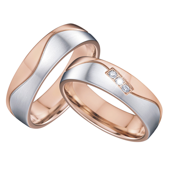 vintage wedding band men's ring women's ring elegance alliances bague anel anillos rose gold color promise couple rings pair