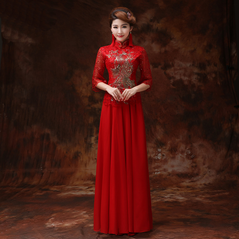 Aliexpress Buy 2016 Red Lace Bride Wedding Dress Qipao Cheongsam Long Chinese Traditional