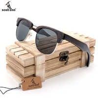 BOBO BIRD AG017/18 Women Men Wooden Sunglasses UV400 Polarized Retro Wood Luxury Brand Eyewear In Gift Box Customize Logo