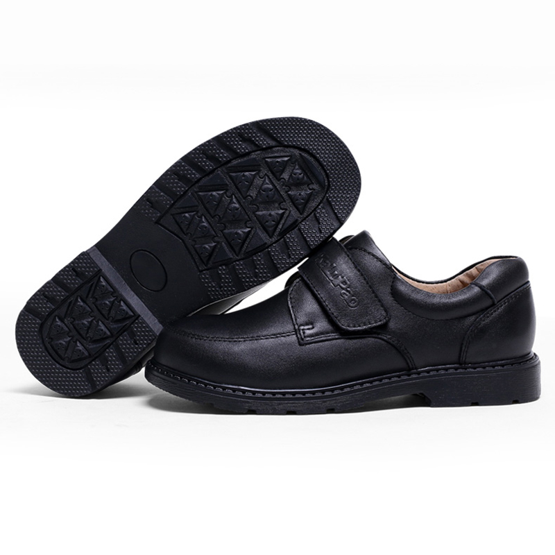 KALUPAO kids leather School Shoes Boys Handsome Dress Shoes Genuine Classic Black rubber performance shoes