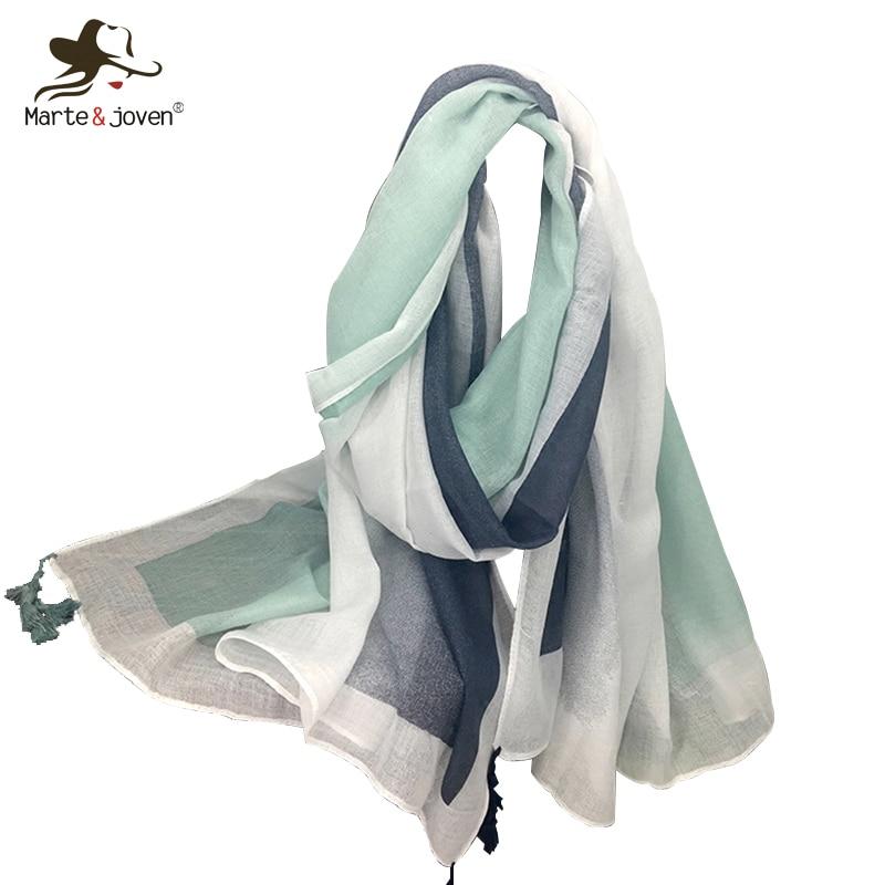 Marte&Joven Fashion Women Spring Thin Polyester Striped Scarves Shawl Ladies Lightweight Sunscreen Big Size Pashmina Scarf Wraps