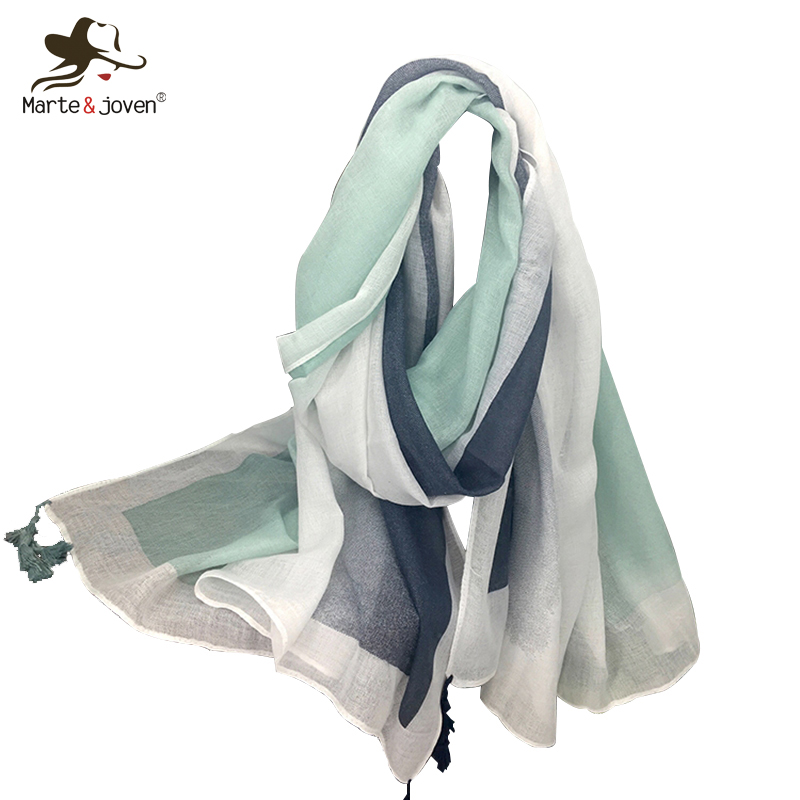 Marte&Joven Fashion Women Spring Thin Polyester Striped   Scarves   Shawl Ladies Lightweight Sunscreen Big Size Pashmina   Scarf     Wraps