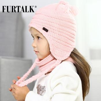FURTALK Children Winter Hat  Scarf Set for Girls and Boys Kids Knitted Hats Earflap B021