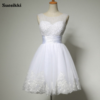 New 2015 White Short Wedding Dresses The Bride Sexy Lace Wedding Dress Bridal Gown Plus Size