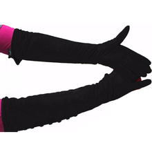 цена на Free shipping Ms. Long sheepskin suede leather gloves fashion button style velvet lining warm over the elbow armband 2016