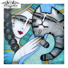 diamond painting cross stitch embroidery Abstract Art Woman Cat 5d Mosaic Christmas Decoration gift