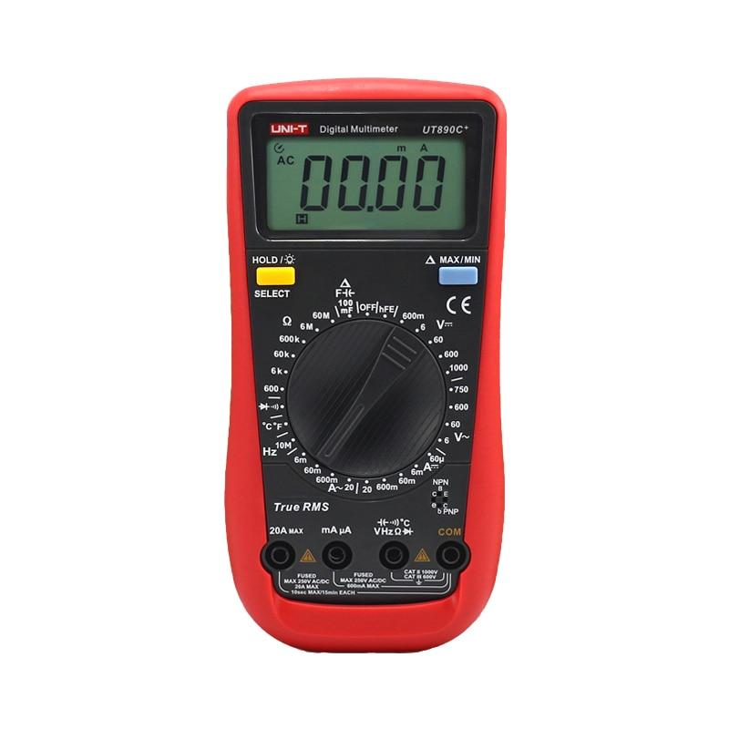 ФОТО UNI-T UT890C+ True RMS Digital Multimeter Ammeter Ohm Capacitance Tester C/F Temperature Universal Meter LCD Count 6000 Meter