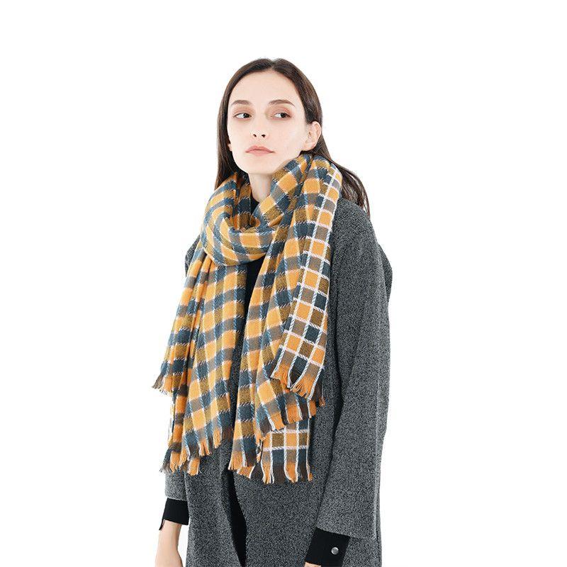 New Autumn Winter Women's Plaid   Scarf   Plaid Girl's Long Warm Cashmere   Scarves   Shawl Female Fashion   Scarf     Wraps   192cm * 75.5cm