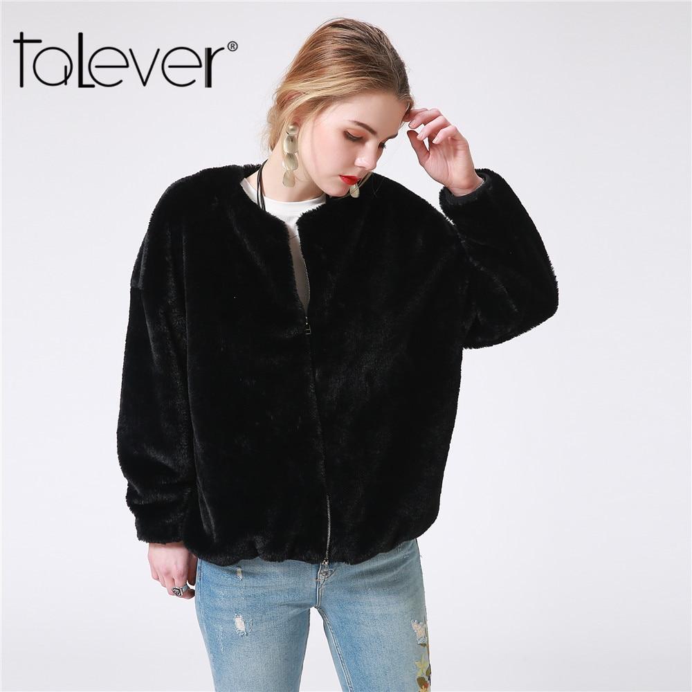 New Autumn Women Black Jacket Winter Female Zipper Pockets Faux Rabbit Fur Jacket 2018 Winter Plus Size S-4XL Warm Coat Talever
