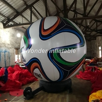 Most popular 4mH printed world cup balloon giant inflatable football soccer ball with base for event sports