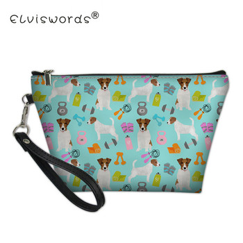 ELVISWORDS Women Jack Russell Terrier Print Cosmetic Case Portable PurseTravel Organizer Wash Bag for Lady Makeup Pouch Neceserr фото