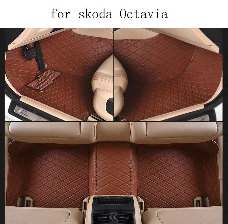 for Skoda Octavia brand leather custom made Car floor mats black grey brown beige Non-slip waterproof 3D car floor Carpets car usb sd aux adapter digital music changer mp3 converter for skoda octavia 2007 2011 fits select oem radios