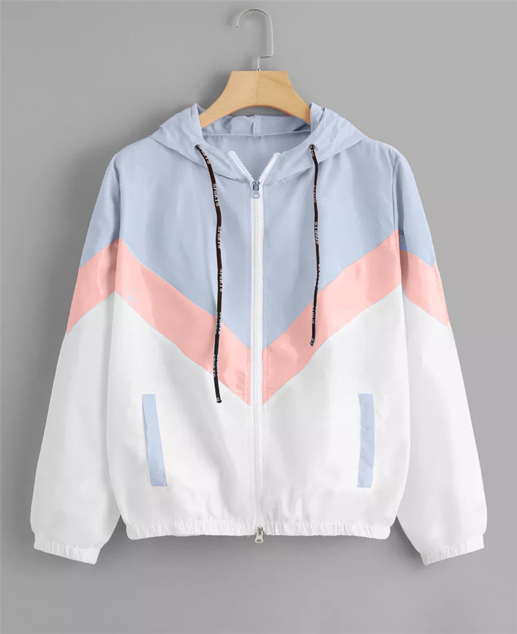 Women Windbreaker   Jacket   Female Multicolor Patchwork Hooded   Jacket     Basic     Jackets   Color Block Coats For Women