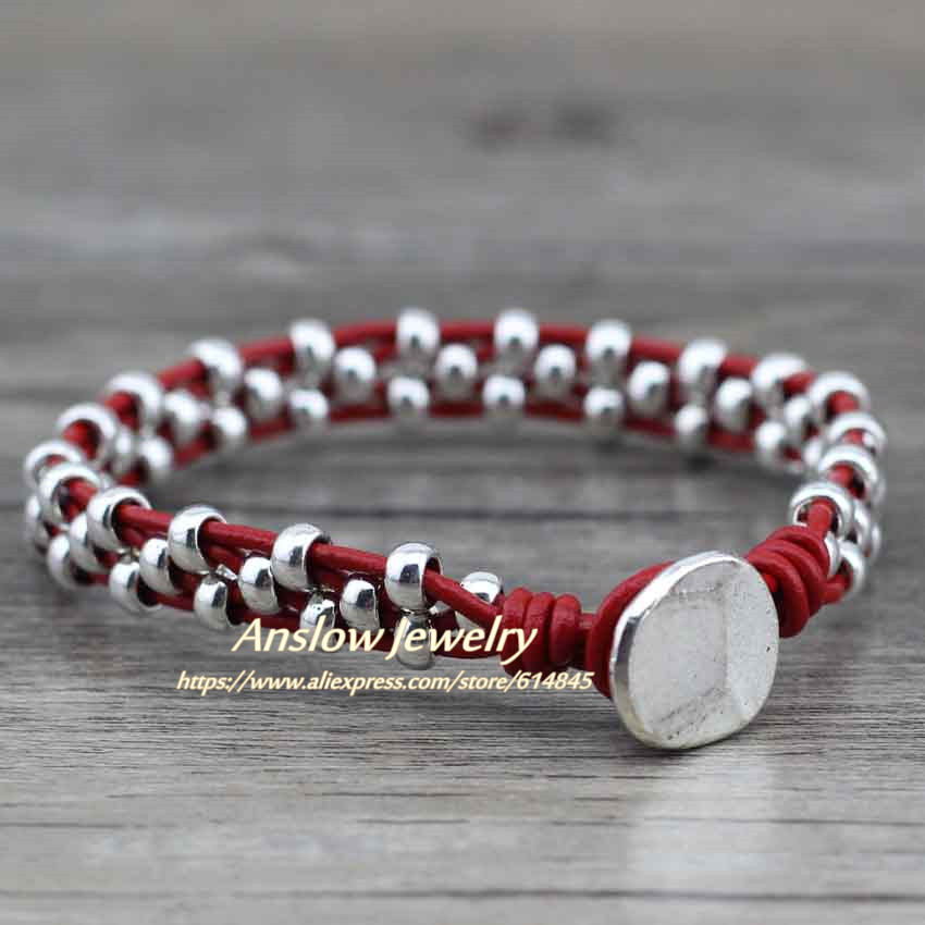 Anslow New Arrival Items Healthy Zinc Alloy Beads Women Men Girls Leather Bracelet Bijoux Charm Jewelry Accessories LOW0383LB 11