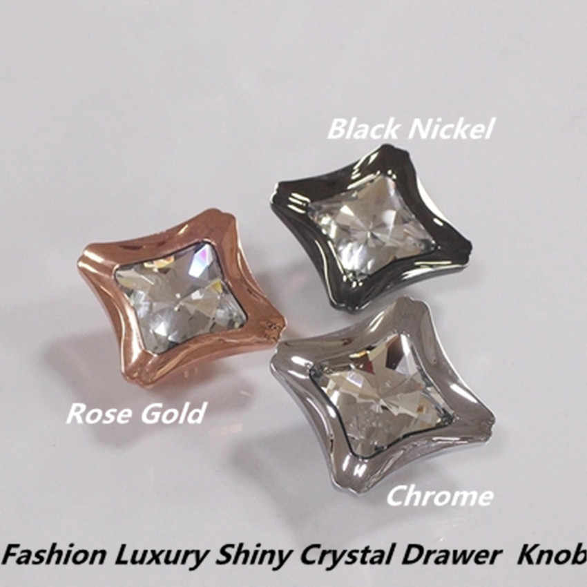 Modern Fashion Creative Transparent Crystal Win Cabinet Kitchen Cabinet Handle Chrome Rose Gold Black Nickel Drawer Cabinet Knob Aliexpress