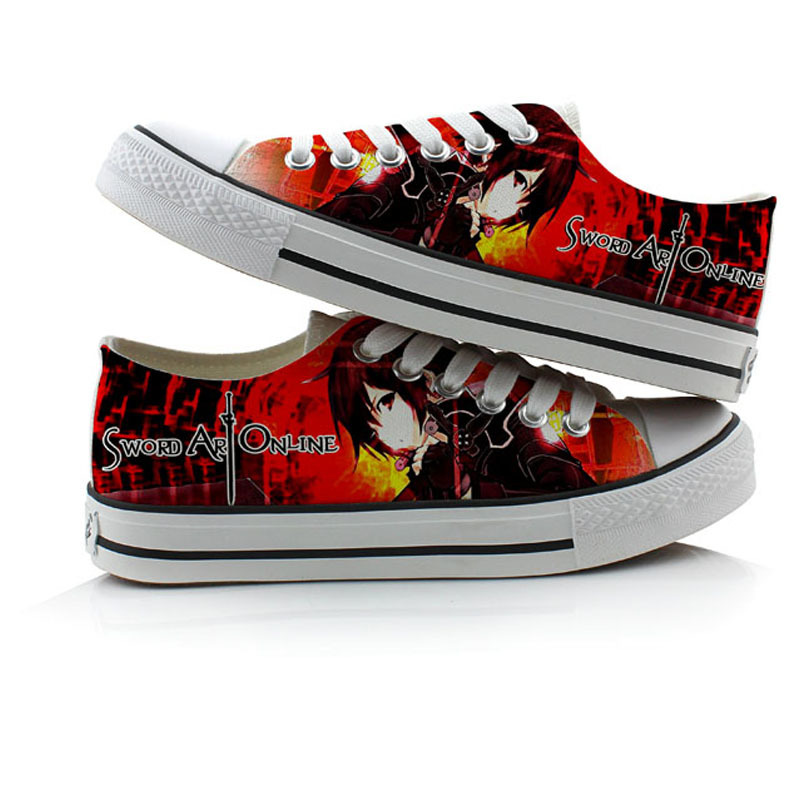 Anime Sword Art Online Fashion Canvas Shoes Anime Cosplay board shoes Halloween Hand Painted Low-Top Flat boots A50915 стоимость