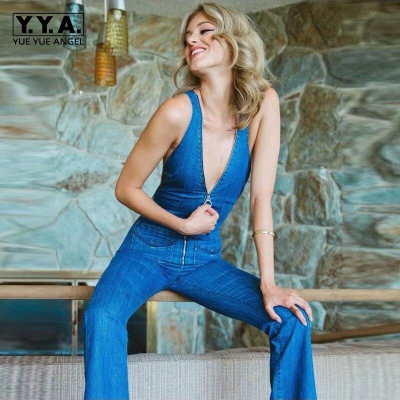 ea03f708033 Femmes Dos 2019 Blue Col Élégant Jean En Mode Sans Manches Sexy Fit Denim  Nouvelle Nu Combinaisons V ...